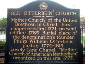Plaque at Old Otterbein Church in Baltimore