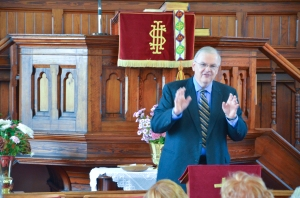 Me preaching at Mow Cop Primitive Methodist Church in 2011